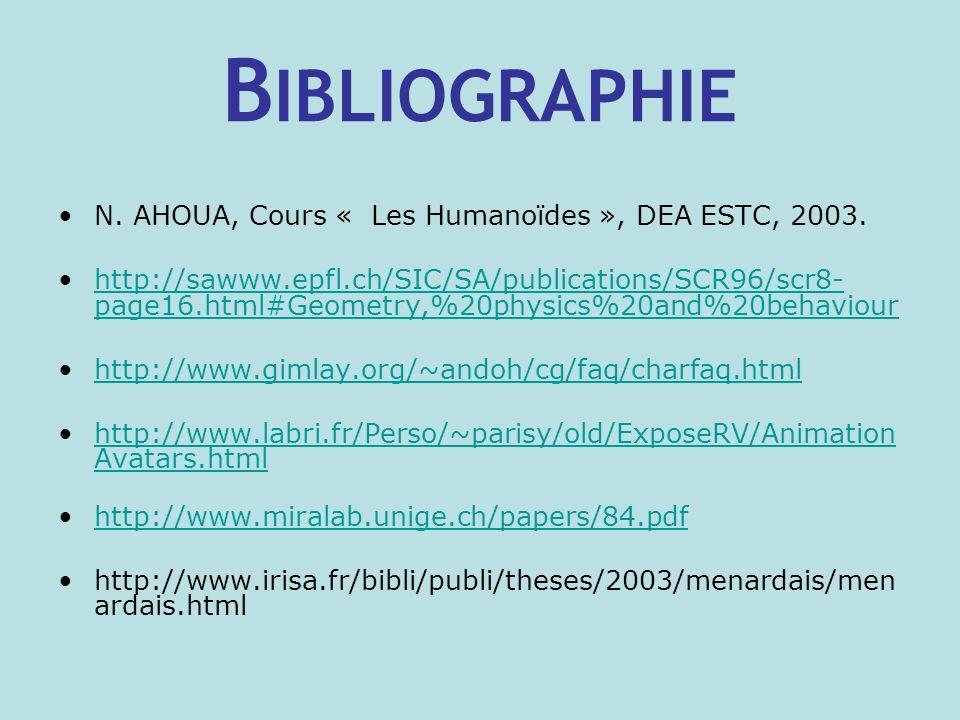 B IBLIOGRAPHIE N.AHOUA, Cours « Les Humanoïdes », DEA ESTC, 2003.