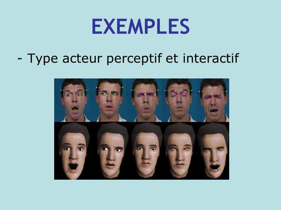 EXEMPLES -Type acteur perceptif et interactif