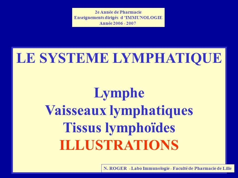 LE SYSTEME LYMPHATIQUE Lymphe Vaisseaux lymphatiques Tissus lymphoïdes ILLUSTRATIONS 2e Année de Pharmacie Enseignements dirigés d IMMUNOLOGIE Année 2