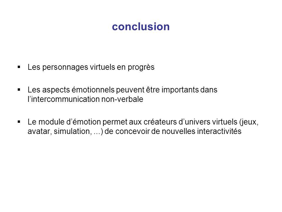 conclusion Les personnages virtuels en progrès Les aspects émotionnels peuvent être importants dans lintercommunication non-verbale Le module démotion