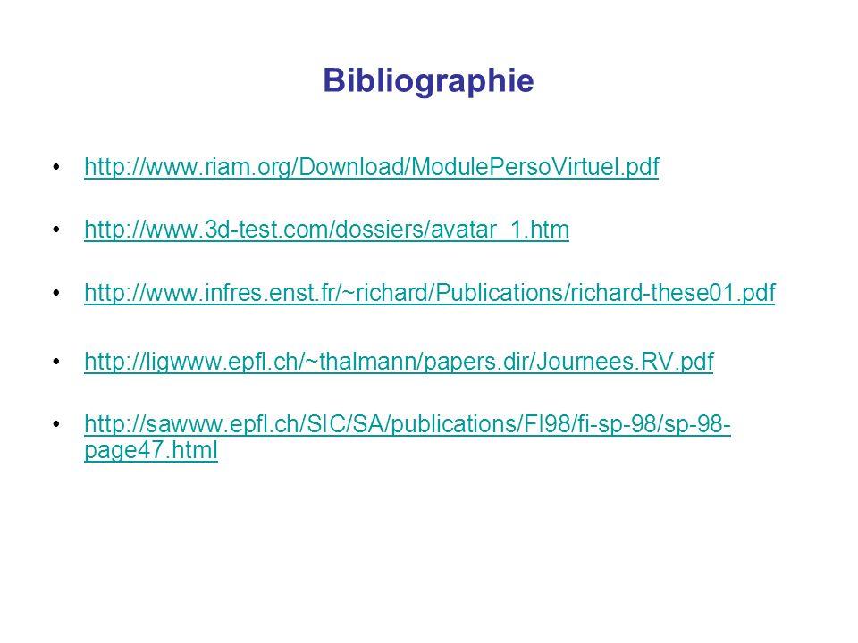 Bibliographie http://www.riam.org/Download/ModulePersoVirtuel.pdf http://www.3d-test.com/dossiers/avatar_1.htm http://www.infres.enst.fr/~richard/Publ