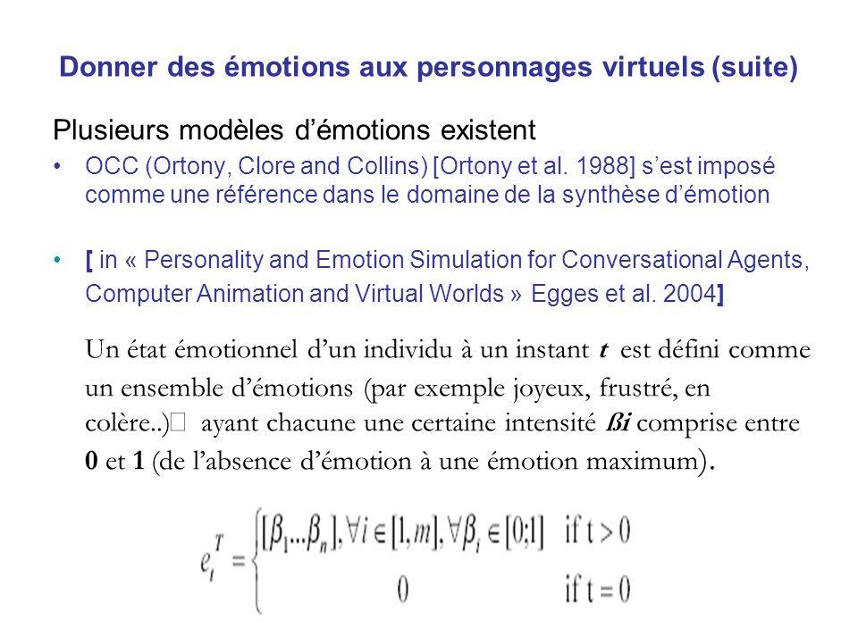 Donner des émotions aux personnages virtuels (suite) Plusieurs modèles démotions existent OCC (Ortony, Clore and Collins) [Ortony et al. 1988] sest im
