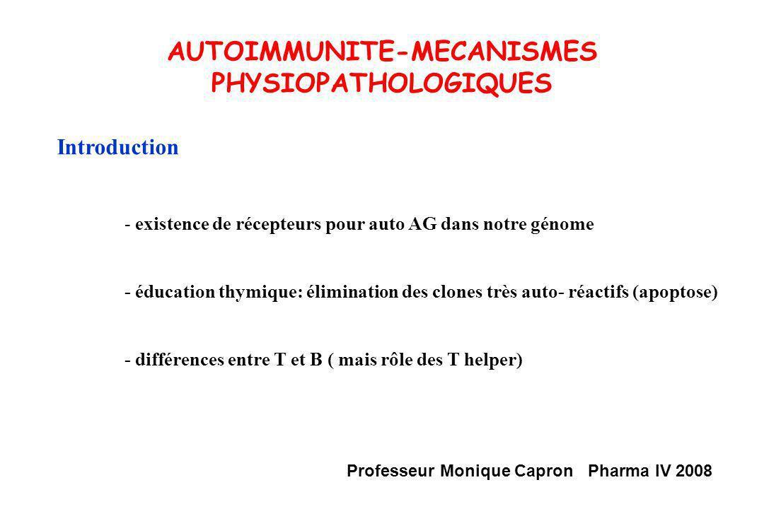 AUTOIMMUNITE-MECANISMES PHYSIOPATHOLOGIQUES Autoimmunité = Processus Physiologique ( clones Lc T autoréactifs de faible affinité ) Anomalies de léducation des Lc T ou conditions particulières dexposition à lantigène + facteurs environnementaux/ génétiques/ hormonaux maladies autoimmunes (MAI) Définitions autoAg autoAc MAI: S.O/ N.S.O