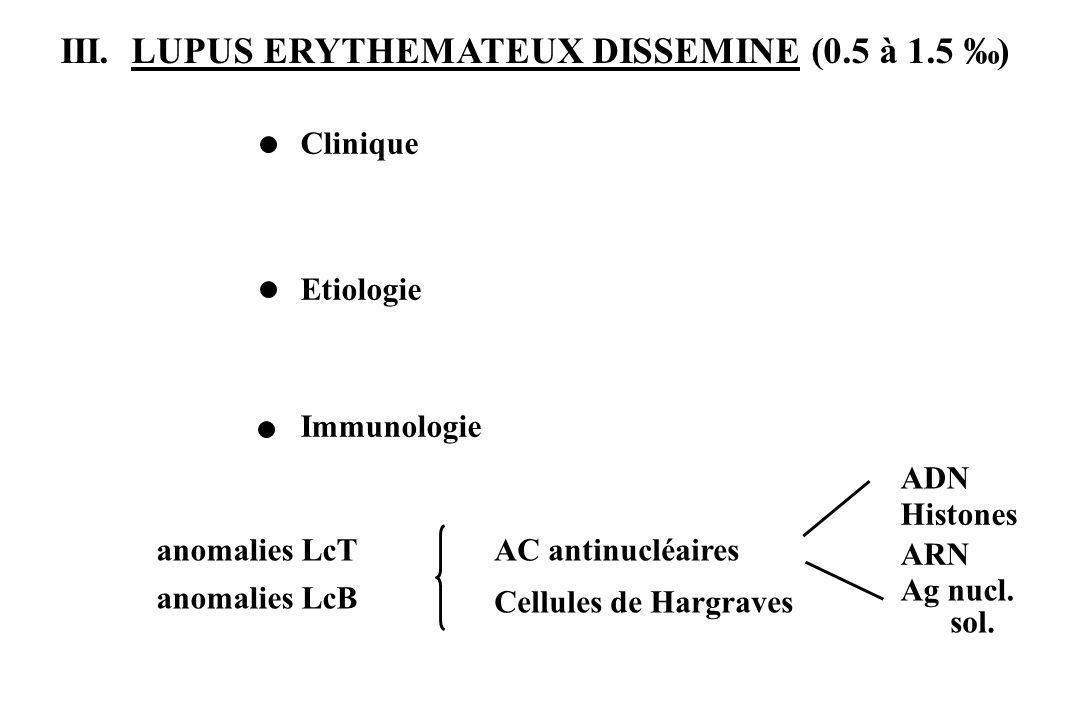 III. LUPUS ERYTHEMATEUX DISSEMINE (0.5 à 1.5 ) anomalies LcT anomalies LcB ADN Histones ARN Ag nucl. sol. Cellules de Hargraves AC antinucléaires Clin