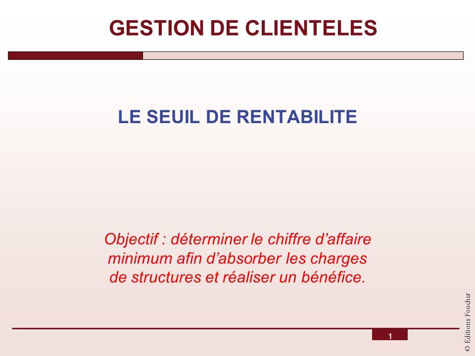 © Éditions Foucher 1 GESTION DE CLIENTELES LE SEUIL DE RENTABILITE Objectif : déterminer le chiffre daffaire minimum afin dabsorber les charges de str