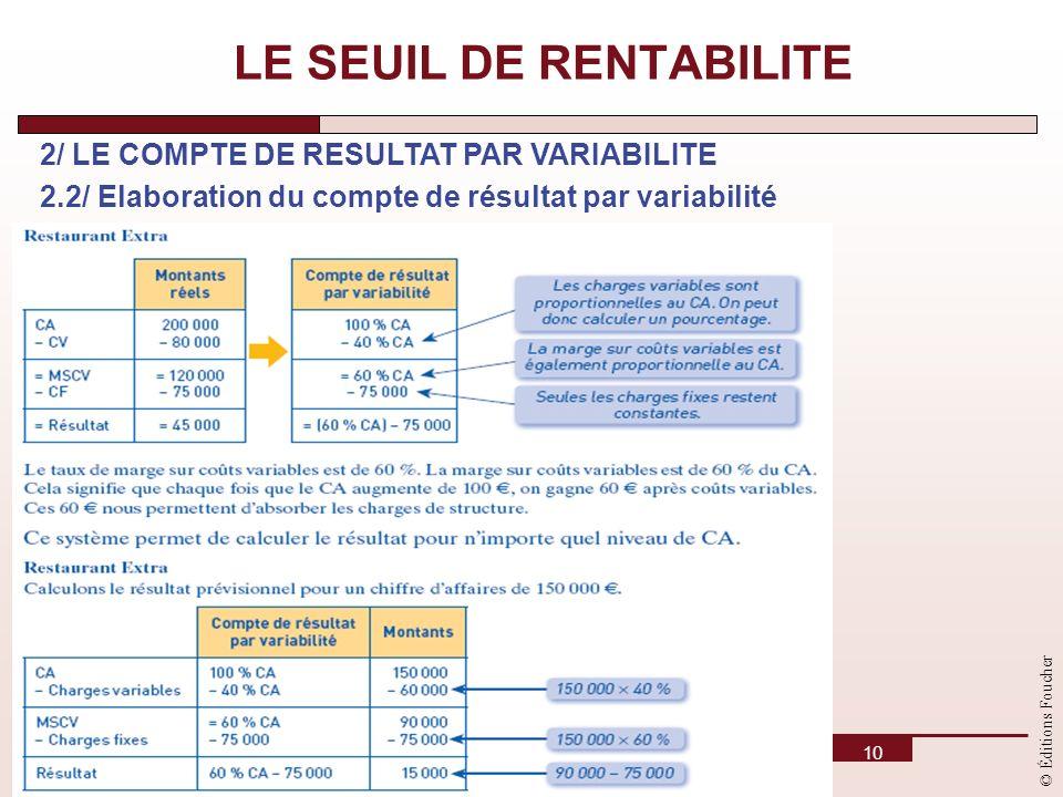 © Éditions Foucher 10 LE SEUIL DE RENTABILITE 2/ LE COMPTE DE RESULTAT PAR VARIABILITE 2.2/ Elaboration du compte de résultat par variabilité