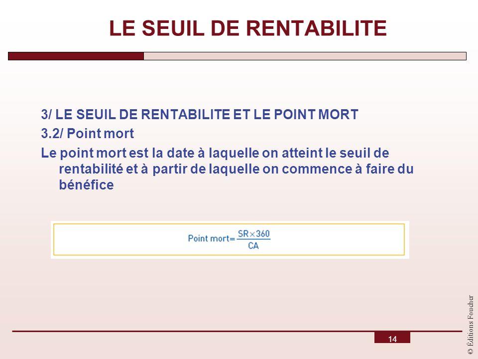 © Éditions Foucher 14 3/ LE SEUIL DE RENTABILITE ET LE POINT MORT 3.2/ Point mort Le point mort est la date à laquelle on atteint le seuil de rentabil