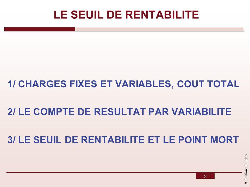 © Éditions Foucher 2 LE SEUIL DE RENTABILITE 1/ CHARGES FIXES ET VARIABLES, COUT TOTAL 2/ LE COMPTE DE RESULTAT PAR VARIABILITE 3/ LE SEUIL DE RENTABI