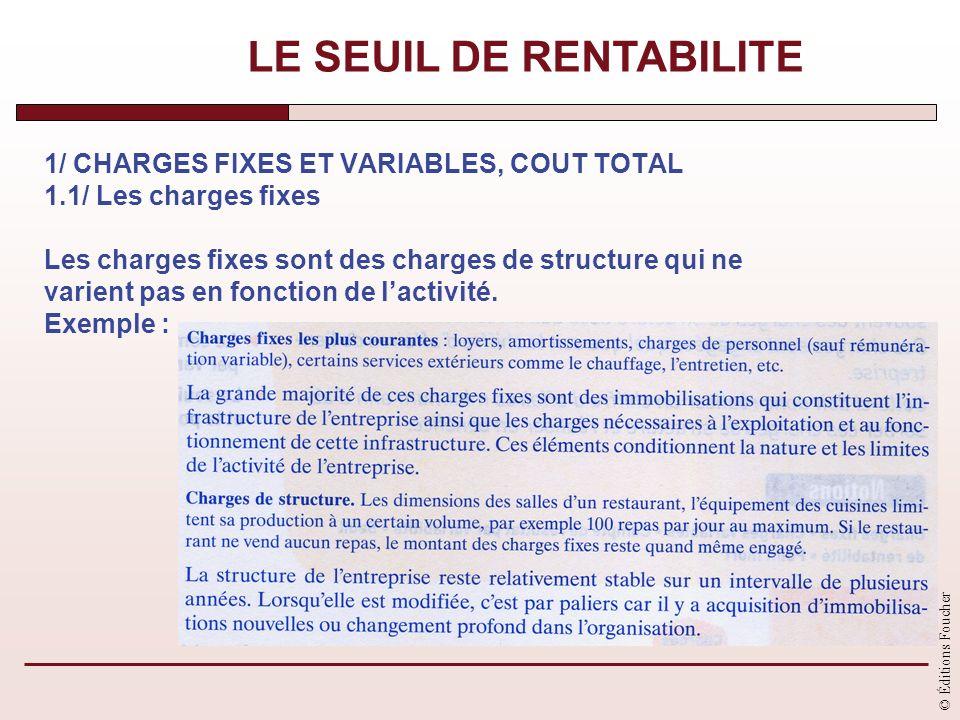 © Éditions Foucher 1/ CHARGES FIXES ET VARIABLES, COUT TOTAL 1.1/ Les charges fixes Les charges fixes sont des charges de structure qui ne varient pas
