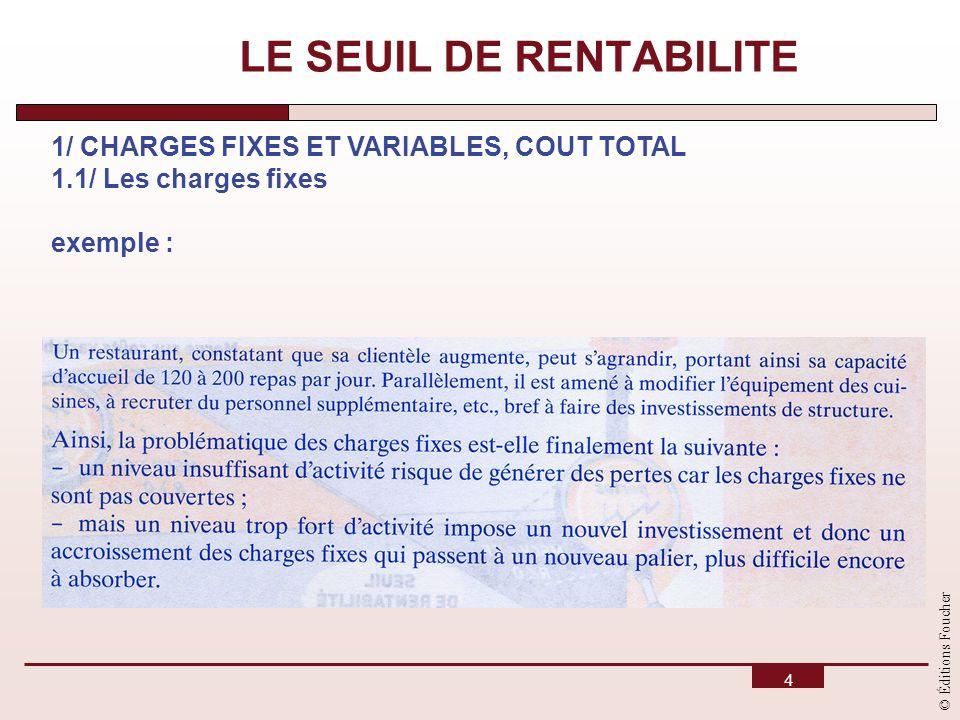 © Éditions Foucher 4 LE SEUIL DE RENTABILITE 1/ CHARGES FIXES ET VARIABLES, COUT TOTAL 1.1/ Les charges fixes exemple :