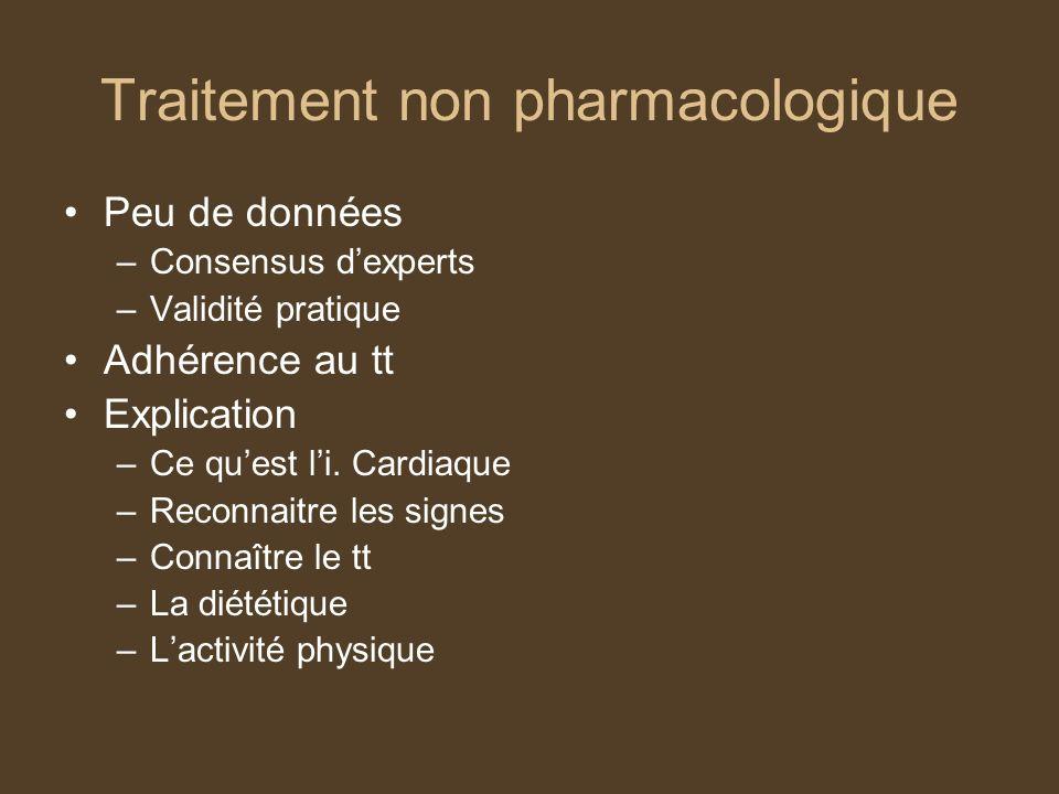 Traitement non pharmacologique Peu de données –Consensus dexperts –Validité pratique Adhérence au tt Explication –Ce quest li.