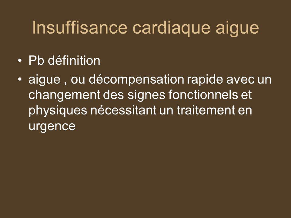 Insuffisance cardiaque aigue Pb définition aigue, ou décompensation rapide avec un changement des signes fonctionnels et physiques nécessitant un traitement en urgence