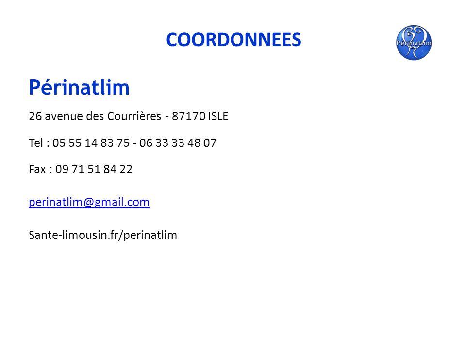 COORDONNEES Périnatlim 26 avenue des Courrières - 87170 ISLE Tel : 05 55 14 83 75 - 06 33 33 48 07 Fax : 09 71 51 84 22 perinatlim@gmail.com Sante-lim