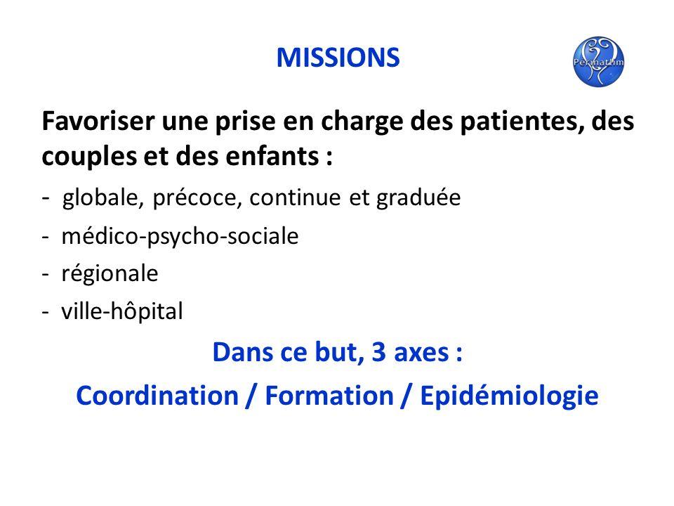MISSIONS Favoriser une prise en charge des patientes, des couples et des enfants : - globale, précoce, continue et graduée - médico-psycho-sociale - r