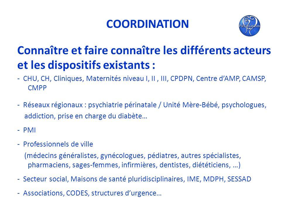 COORDINATION Connaître et faire connaître les différents acteurs et les dispositifs existants : - CHU, CH, Cliniques, Maternités niveau I, II, III, CP