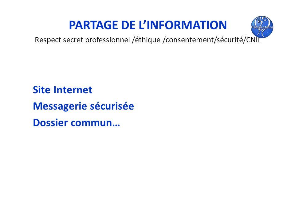 PARTAGE DE LINFORMATION Respect secret professionnel /éthique /consentement/sécurité/CNIL Site Internet Messagerie sécurisée Dossier commun…