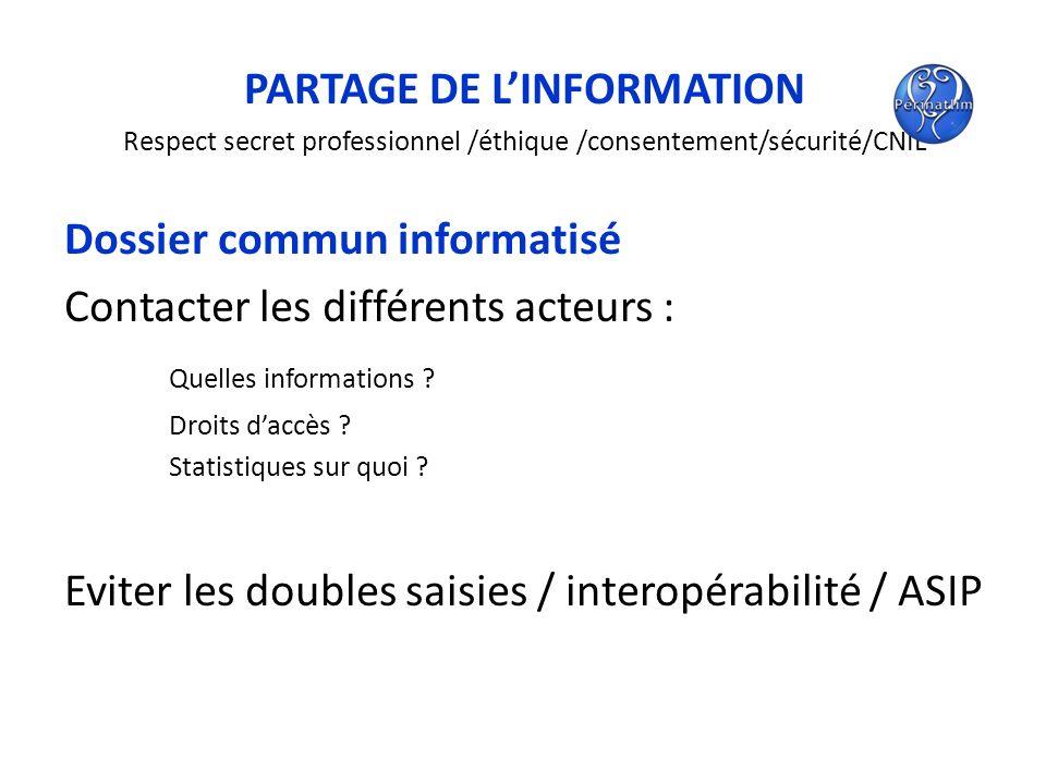 PARTAGE DE LINFORMATION Respect secret professionnel /éthique /consentement/sécurité/CNIL Dossier commun informatisé Contacter les différents acteurs
