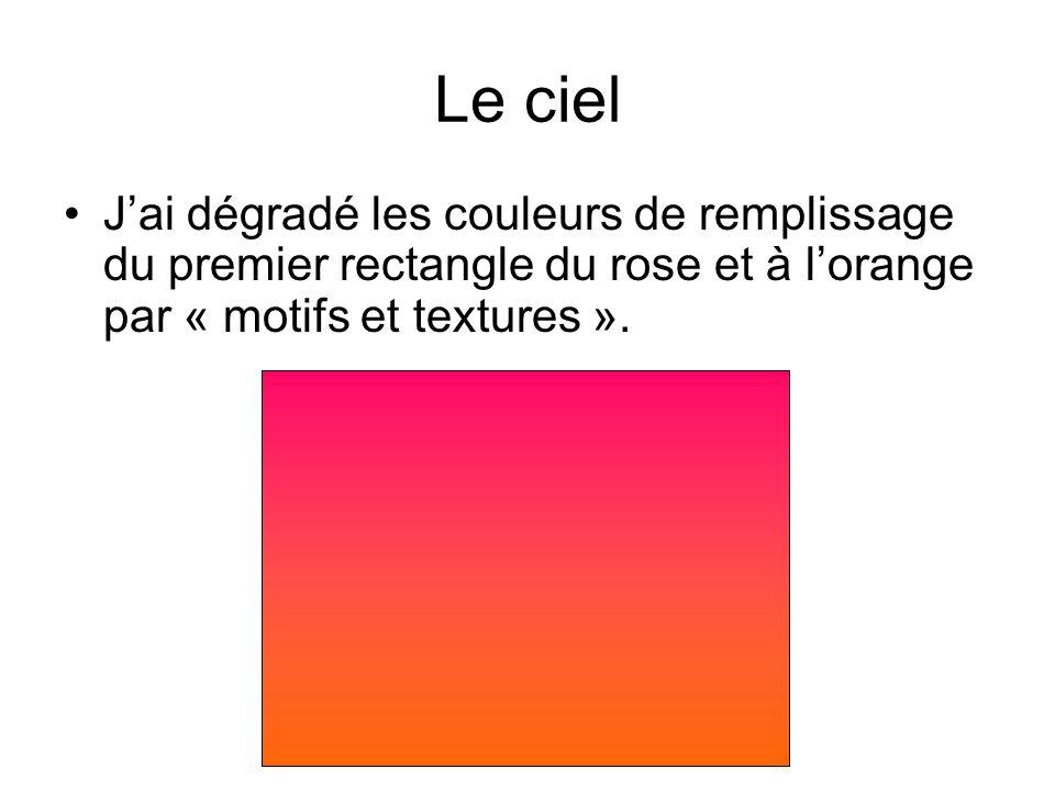 Le ciel Jai dégradé les couleurs de remplissage du premier rectangle du rose et à lorange par « motifs et textures ».
