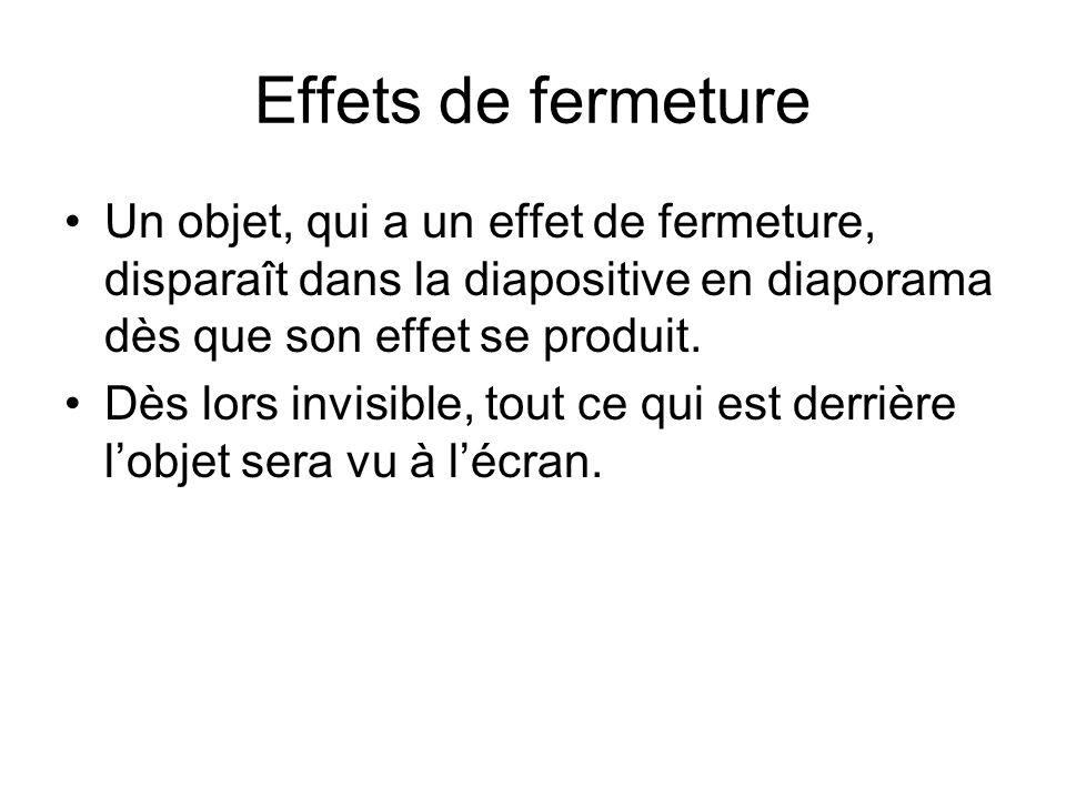 Effets de fermeture Un objet, qui a un effet de fermeture, disparaît dans la diapositive en diaporama dès que son effet se produit. Dès lors invisible