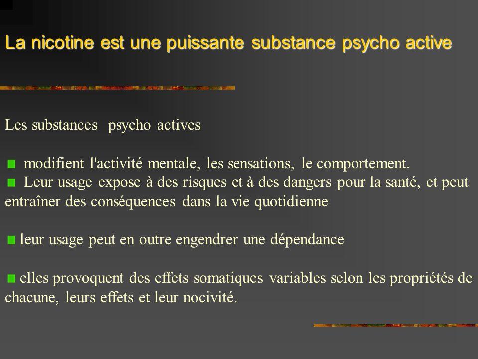 La nicotine est une puissante substance psycho active Les substances psycho actives modifient l activité mentale, les sensations, le comportement.