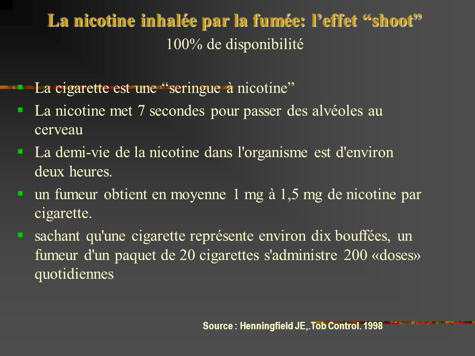 La nicotine inhalée par la fumée: leffet shoot 100% de disponibilité La cigarette est une seringue à nicotine La nicotine met 7 secondes pour passer des alvéoles au cerveau La demi-vie de la nicotine dans l organisme est d environ deux heures.