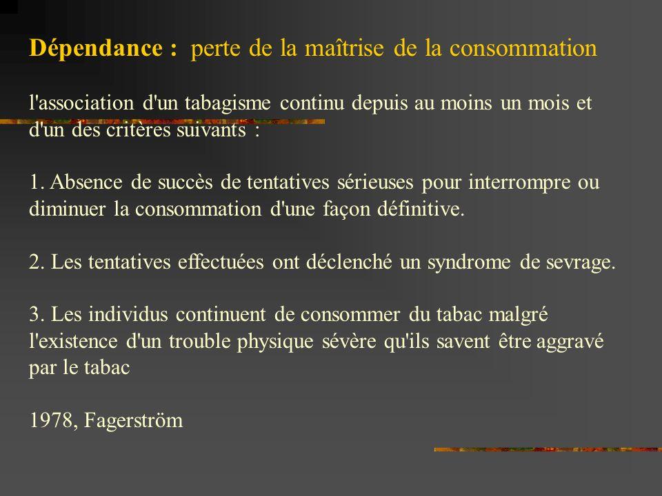 Dépendance : perte de la maîtrise de la consommation l'association d'un tabagisme continu depuis au moins un mois et d'un des critères suivants : 1. A