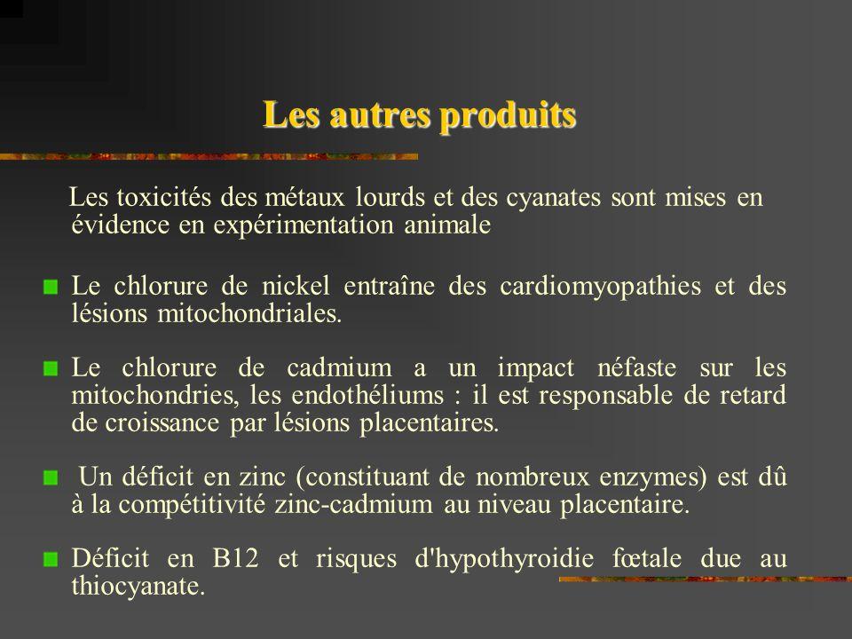 Les autres produits Les toxicités des métaux lourds et des cyanates sont mises en évidence en expérimentation animale Le chlorure de nickel entraîne des cardiomyopathies et des lésions mitochondriales.