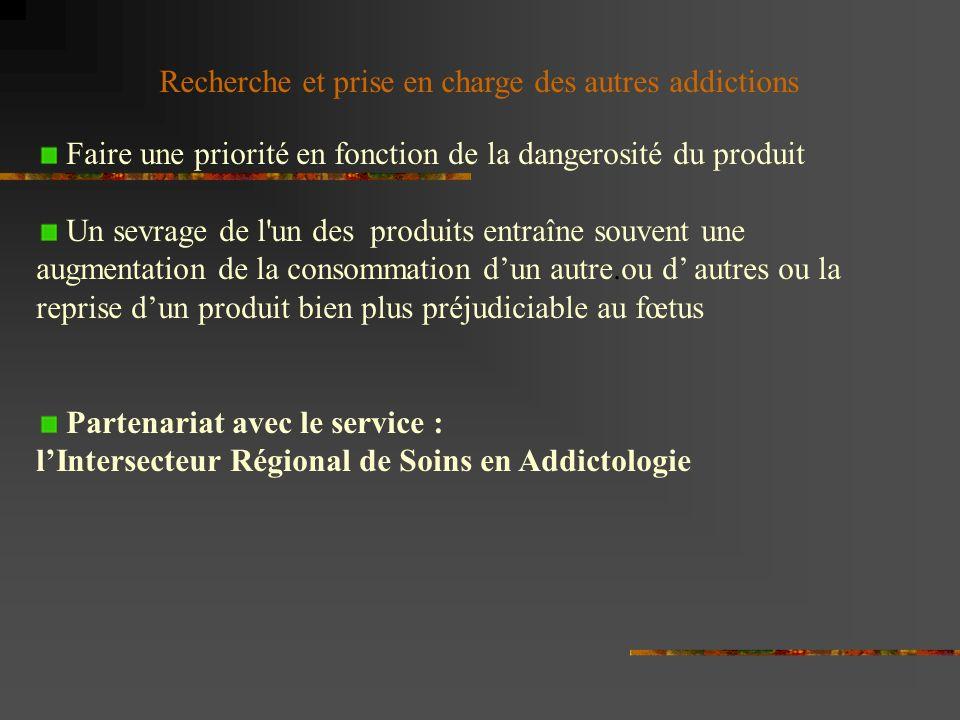 Recherche et prise en charge des autres addictions Faire une priorité en fonction de la dangerosité du produit Un sevrage de l'un des produits entraîn