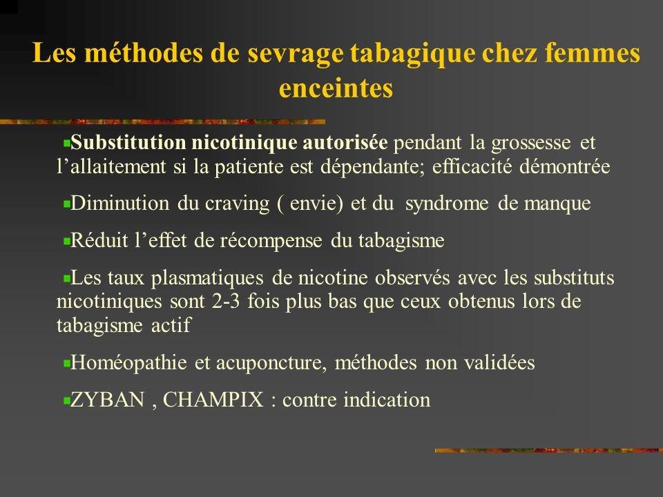 Les méthodes de sevrage tabagique chez femmes enceintes Substitution nicotinique autorisée pendant la grossesse et lallaitement si la patiente est dép