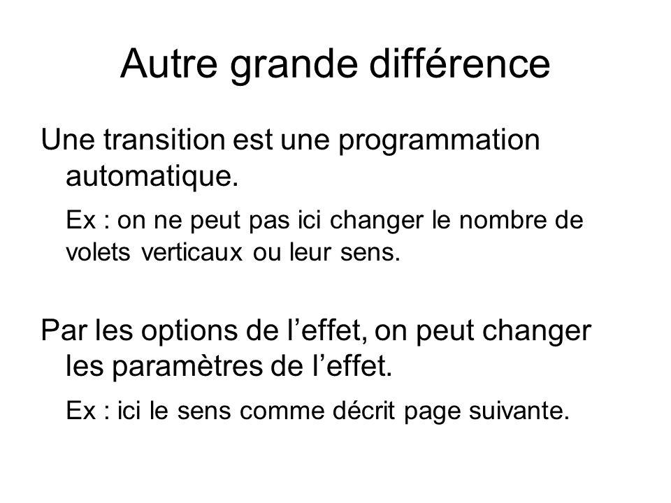 Autre grande différence Une transition est une programmation automatique. Ex : on ne peut pas ici changer le nombre de volets verticaux ou leur sens.