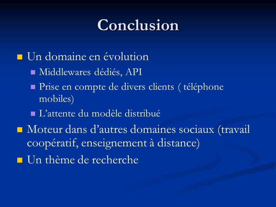 Conclusion Un domaine en évolution Middlewares dédiés, API Prise en compte de divers clients ( téléphone mobiles) Lattente du modèle distribué Moteur