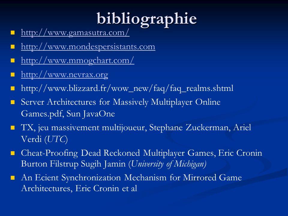 bibliographie http://www.gamasutra.com/ http://www.mondespersistants.com http://www.mmogchart.com/ http://www.nevrax.org http://www.blizzard.fr/wow_ne