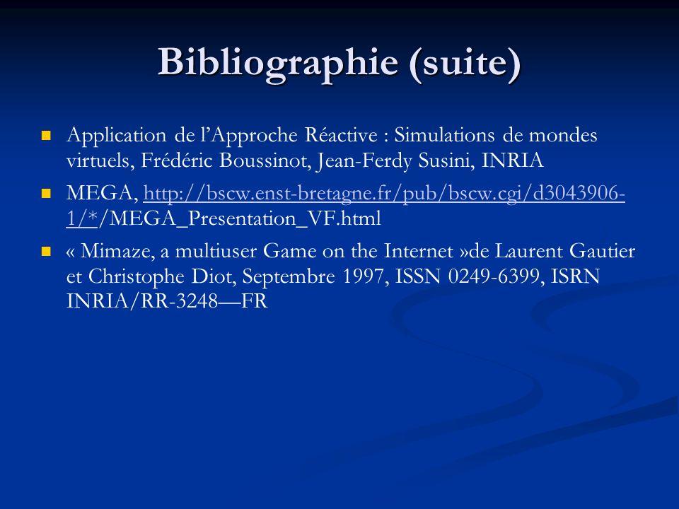 Bibliographie (suite) Application de lApproche Réactive : Simulations de mondes virtuels, Frédéric Boussinot, Jean-Ferdy Susini, INRIA MEGA, http://bs