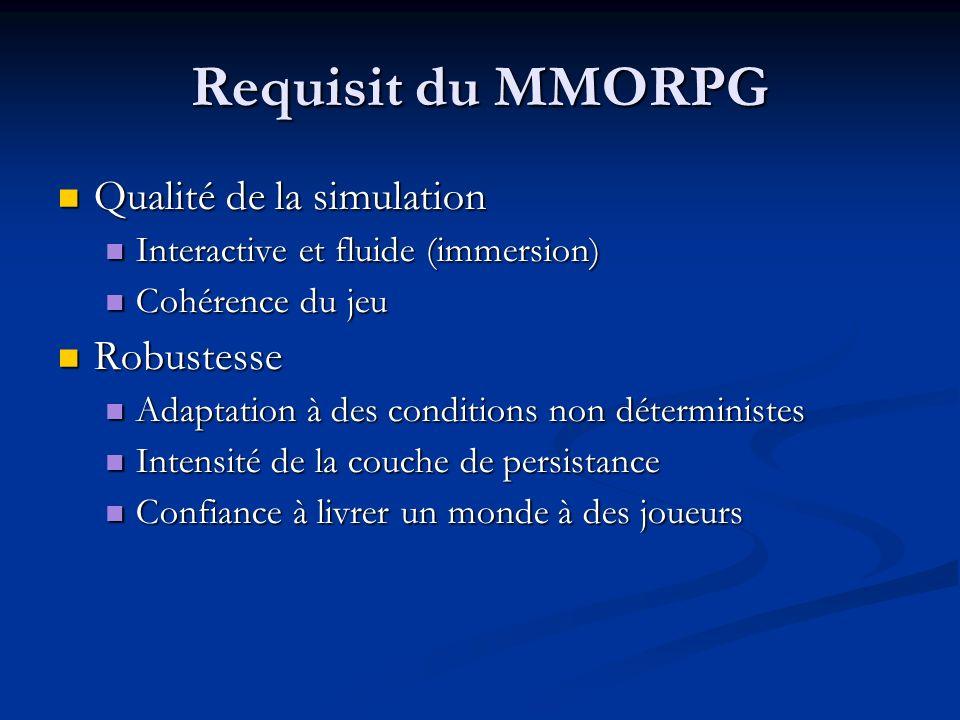 bibliographie http://www.gamasutra.com/ http://www.mondespersistants.com http://www.mmogchart.com/ http://www.nevrax.org http://www.blizzard.fr/wow_new/faq/faq_realms.shtml Server Architectures for Massively Multiplayer Online Games.pdf, Sun JavaOne TX, jeu massivement multijoueur, Stephane Zuckerman, Ariel Verdi (UTC) Cheat-Proofing Dead Reckoned Multiplayer Games, Eric Cronin Burton Filstrup Sugih Jamin (University of Michigan) An Ecient Synchronization Mechanism for Mirrored Game Architectures, Eric Cronin et al