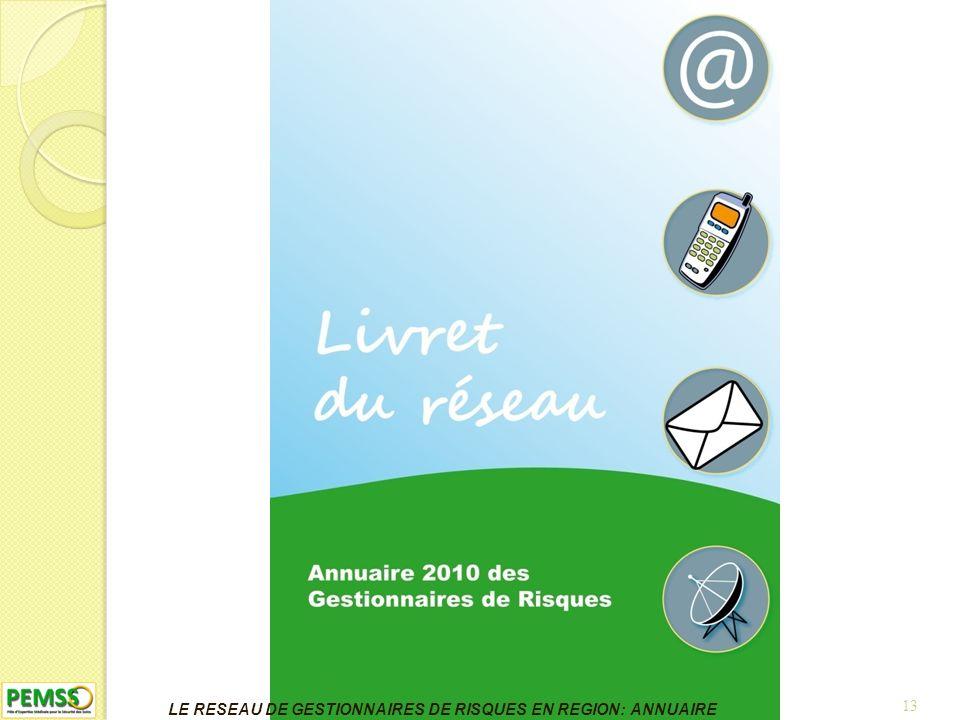 13 LE RESEAU DE GESTIONNAIRES DE RISQUES EN REGION: ANNUAIRE