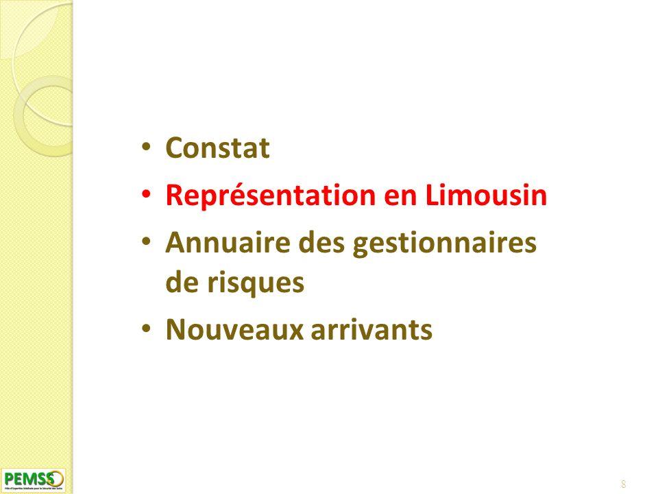 8 Constat Représentation en Limousin Annuaire des gestionnaires de risques Nouveaux arrivants