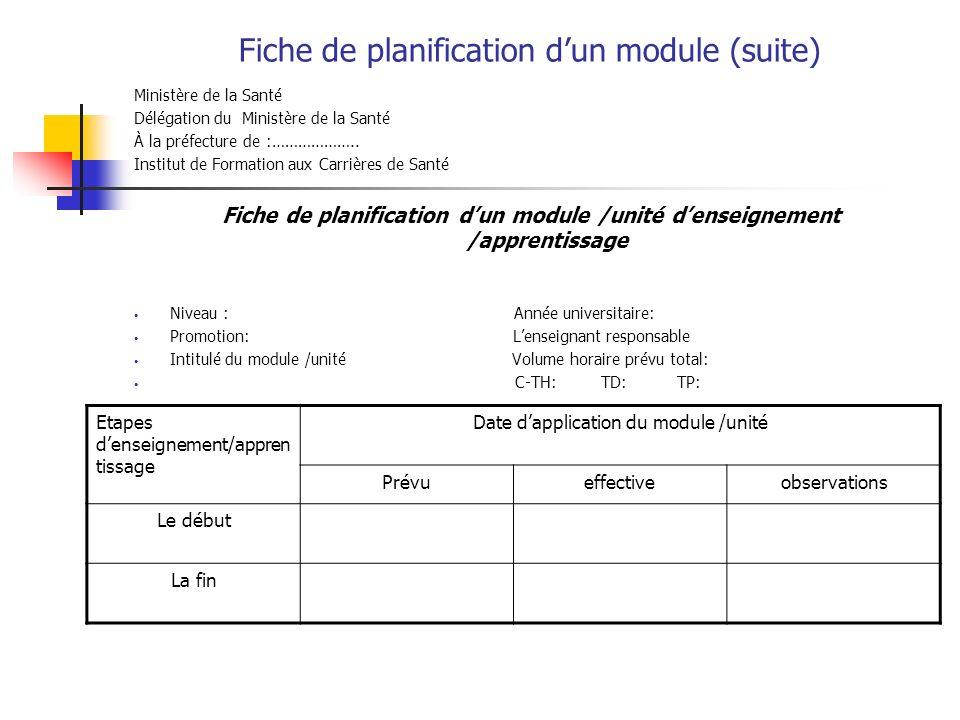 Fiche de planification dun module (suite) Ministère de la Santé Délégation du Ministère de la Santé À la préfecture de :………………..