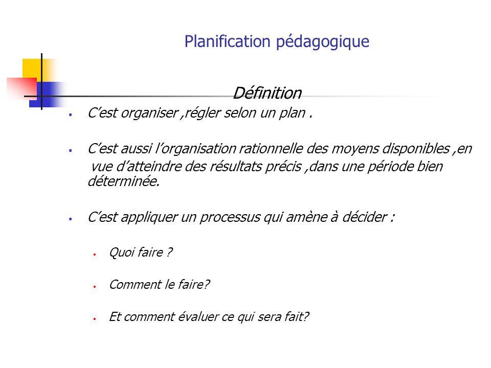 Planification pédagogique Définition ( suite) Cest un processus de prévision et dorganisation rationnelles des moyens didactiques disponibles.