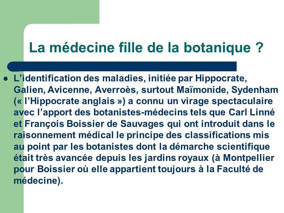 Naissance de la médecine scientifique moderne Cest la « Nosologie méthodique dans laquelle les maladies sont rangées par classes selon le système de Sydenham et lOrdre des botanistes ».