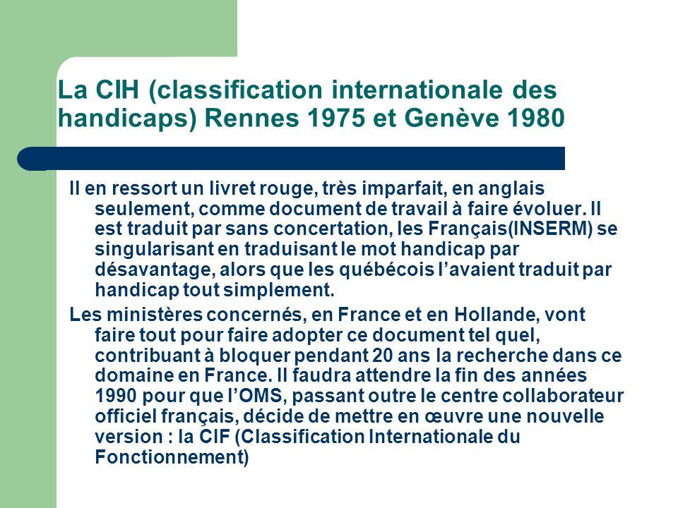 La CIH (classification internationale des handicaps) Rennes 1975 et Genève 1980 Il en ressort un livret rouge, très imparfait, en anglais seulement, comme document de travail à faire évoluer.