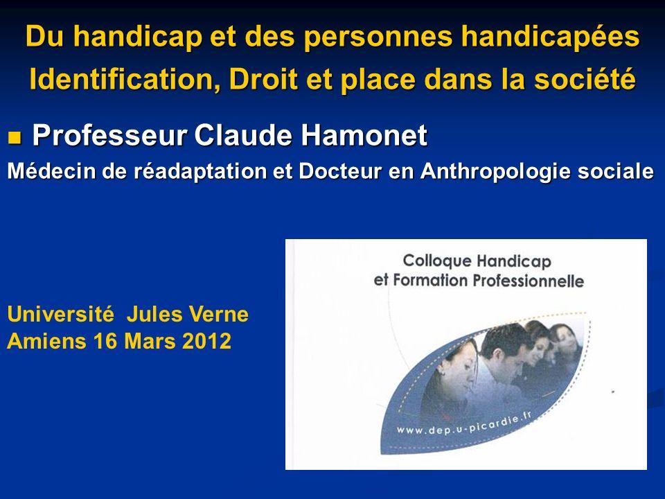 Du handicap et des personnes handicapées Identification, Droit et place dans la société Professeur Claude Hamonet Professeur Claude Hamonet Médecin de