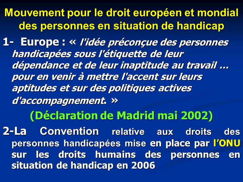 Mouvement pour le droit européen et mondial des personnes en situation de handicap 1- Europe : « l'idée préconçue des personnes handicapées sous l'éti