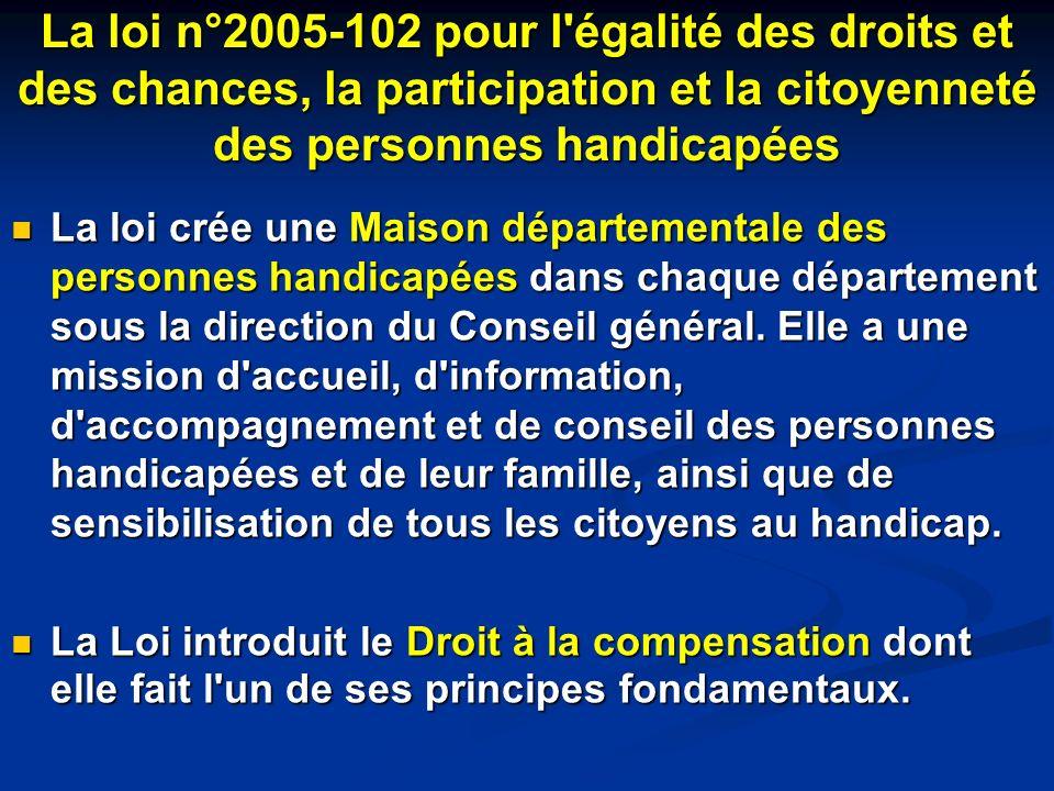 La loi n°2005-102 pour l'égalité des droits et des chances, la participation et la citoyenneté des personnes handicapées La loi crée une Maison départ