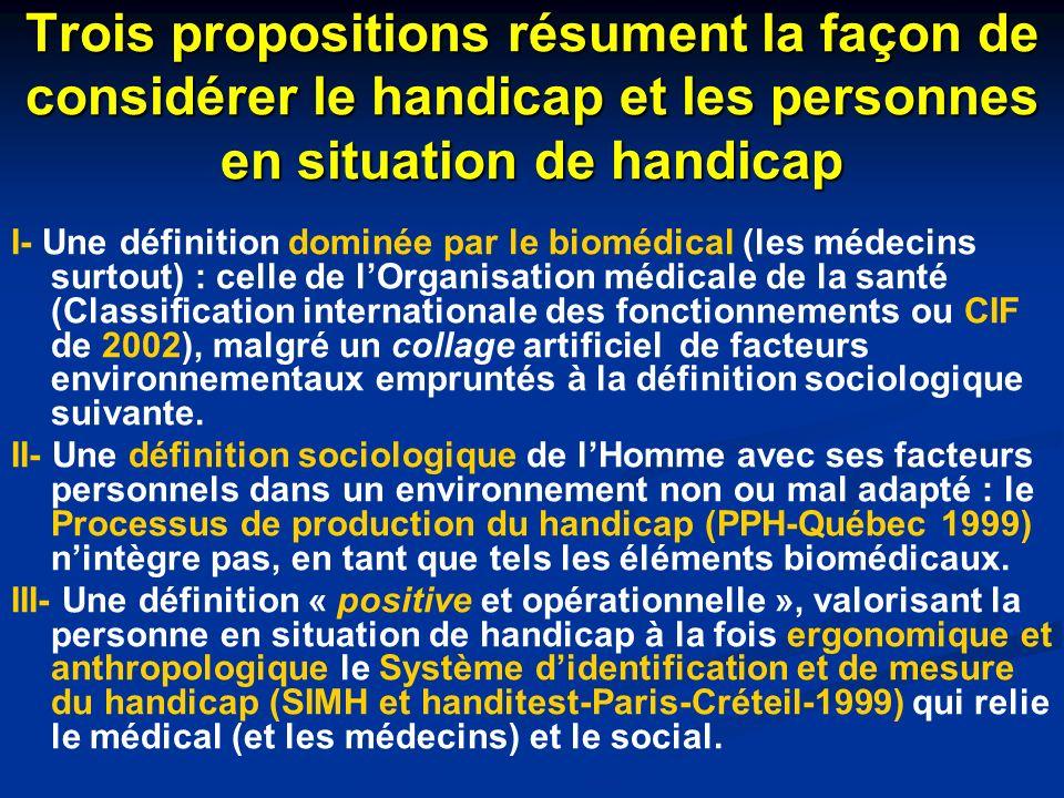 Trois propositions résument la façon de considérer le handicap et les personnes en situation de handicap I- Une définition dominée par le biomédical (