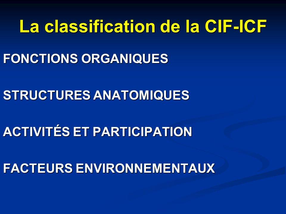 La classification de la CIF-ICF FONCTIONS ORGANIQUES STRUCTURES ANATOMIQUES ACTIVITÉS ET PARTICIPATION FACTEURS ENVIRONNEMENTAUX