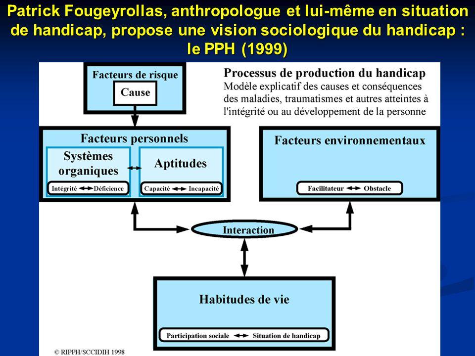 Patrick Fougeyrollas, anthropologue et lui-même en situation de handicap, propose une vision sociologique du handicap : le PPH (1999)