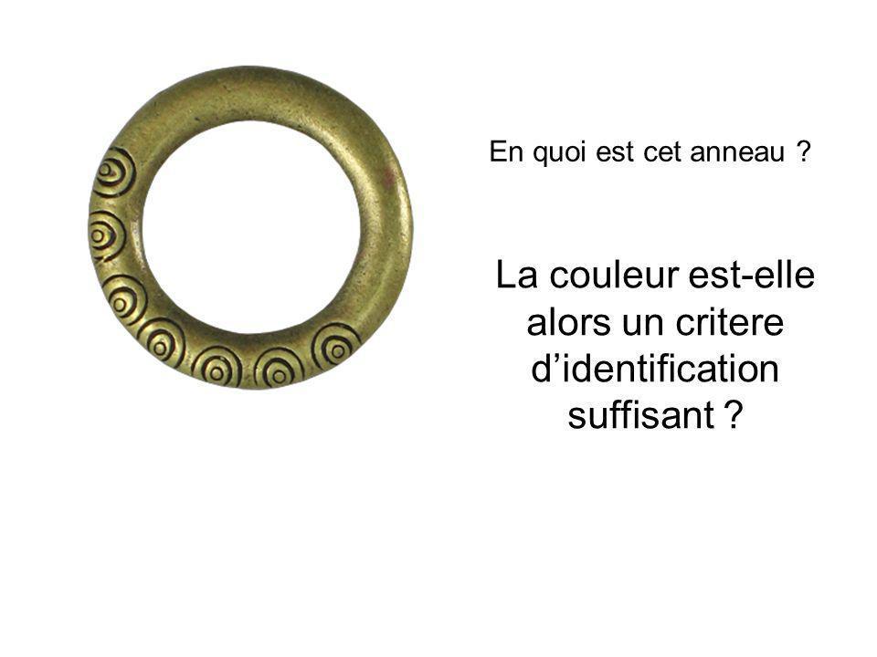 En quoi est cet anneau ? La couleur est-elle alors un critere didentification suffisant ?