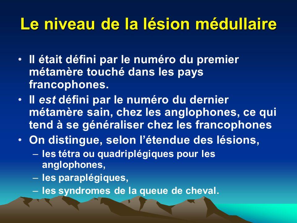 Le niveau de la lésion médullaire Il était défini par le numéro du premier métamère touché dans les pays francophones.