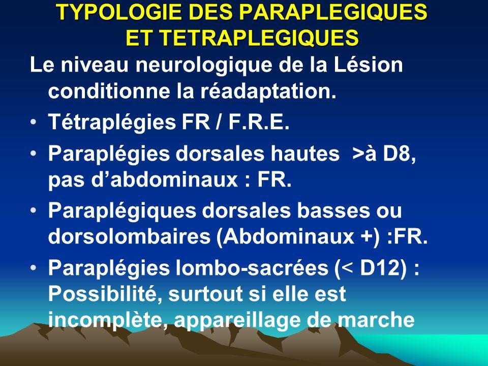 TYPOLOGIE DES PARAPLEGIQUES ET TETRAPLEGIQUES Le niveau neurologique de la Lésion conditionne la réadaptation.