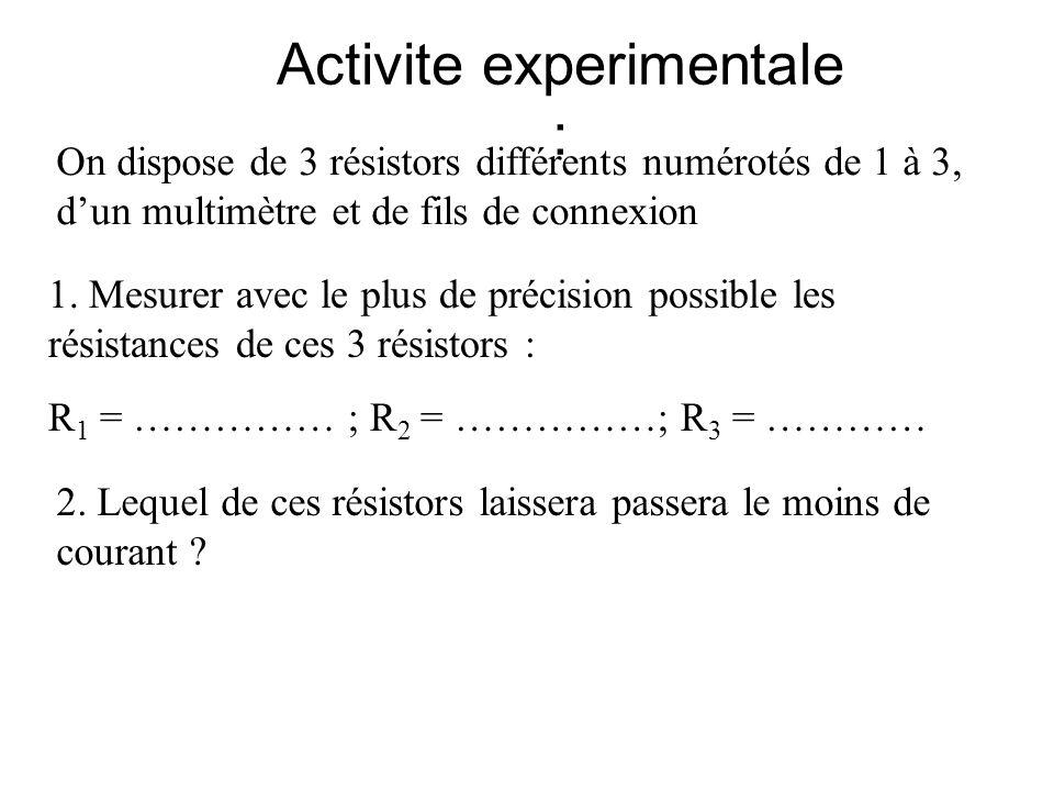 Activite experimentale : On dispose de 3 résistors différents numérotés de 1 à 3, dun multimètre et de fils de connexion 1. Mesurer avec le plus de pr